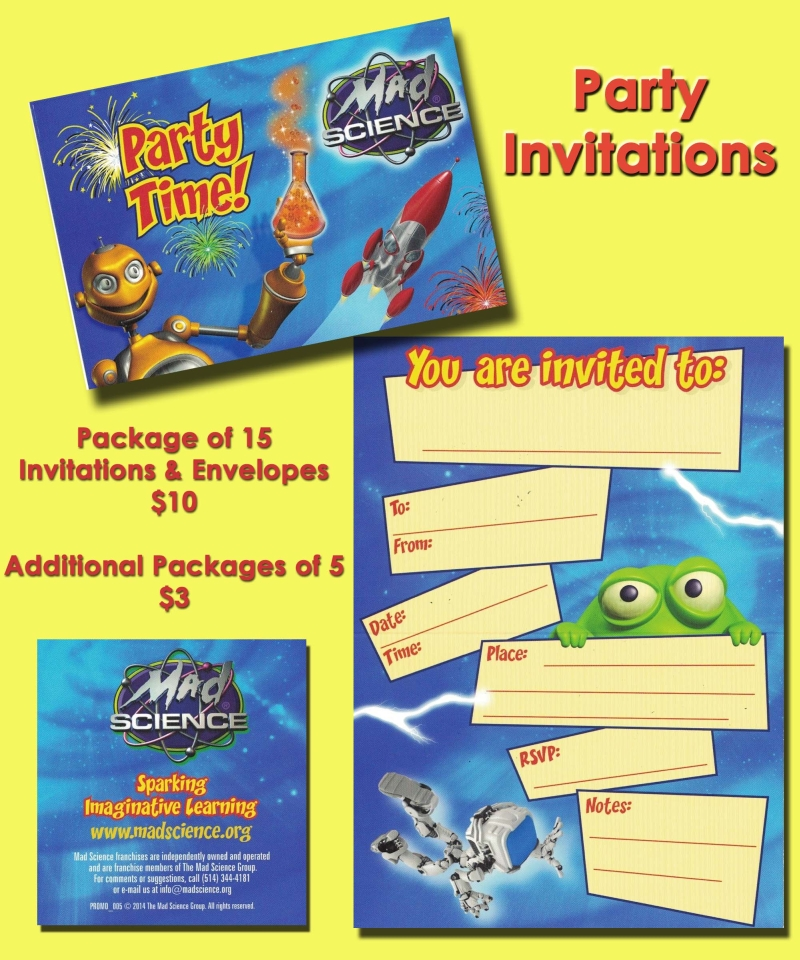 Birthday Parties – Mad Scientist Birthday Party Invitations